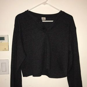 Tops - cropped henley top